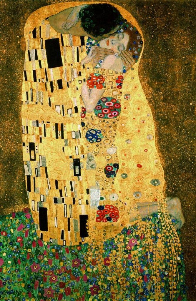 """El Beso, de Gustav Klimt.máximo representante del movimiento to la sucession. Abandona el grupo para formar """"wiener werkstatte"""". Su finalidad es crear diseño para todo el mundo d"""