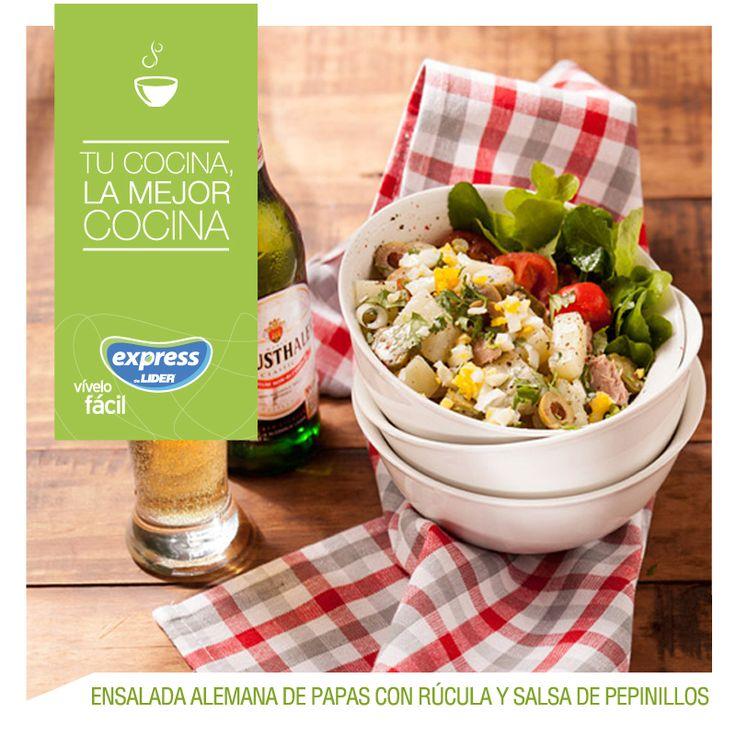 Ensalada Alemana de papas con rúcula y salsa de pepinillos #Recetario #Receta #RecetarioExpress #Lider #Food #Foodporn #Salad #Rúcula #Alemania #Beer