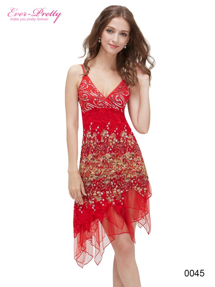 Ever-Pretty Flowing Red Lace Cocktail Dress