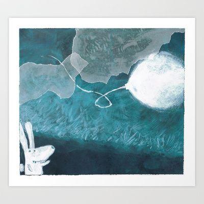 moon baloon Art Print by stefania coniglio - $14.04