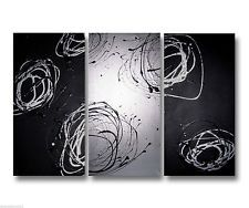 Abstract art canvas painting    black silver   . Wall art paintings Australia