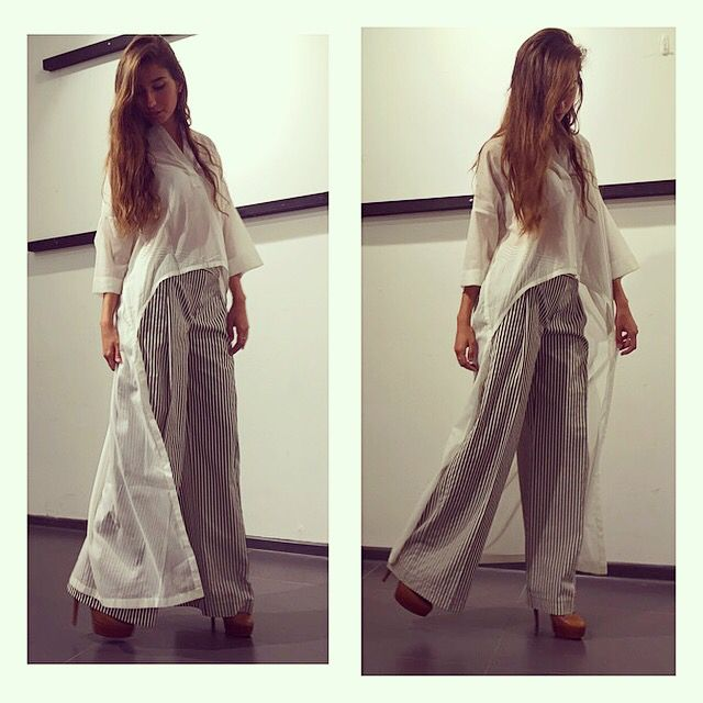 White long shirt and wide summer pants
