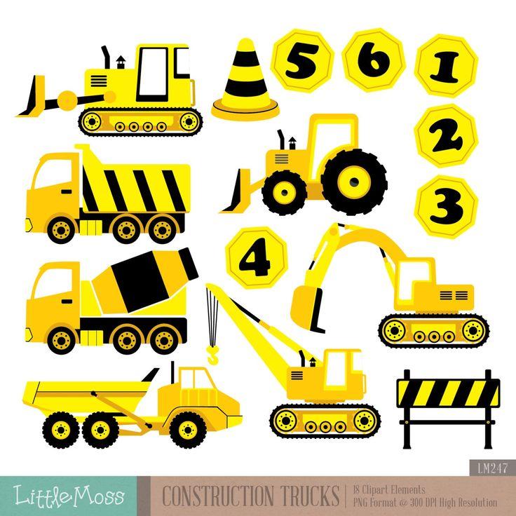 Camiones De Construcci N Digital Clipart Por Littlemoss En