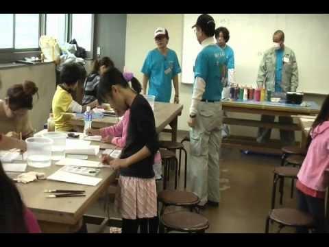 羽子板で親子の塗装体験教室。