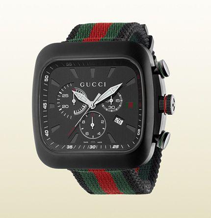 Gucci Coupé Uhr mit extragroßem Gehäuse mit schwarz ...