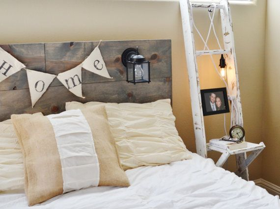 Ladder nightstand & rustic headboard with built in lighting, would be so cute for a mountain house!