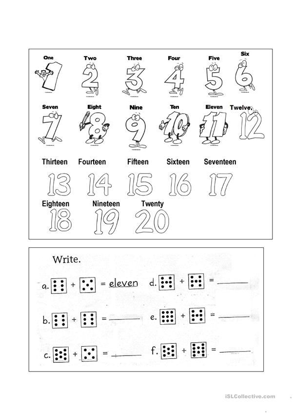 Numbers 1-20 - English ESL Worksheets Teaching Adjectives, Teaching Jobs,  Writing Skills