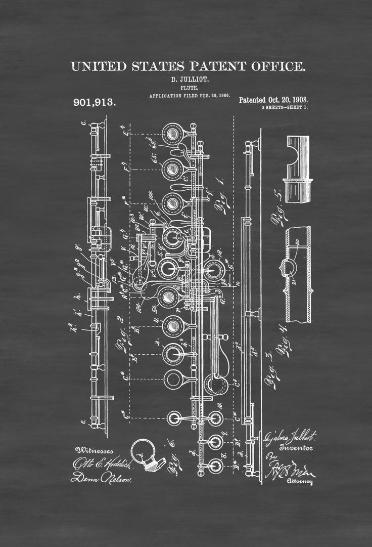 A patent print poster of a Flute invented by D. Julliot. The patent was issued…