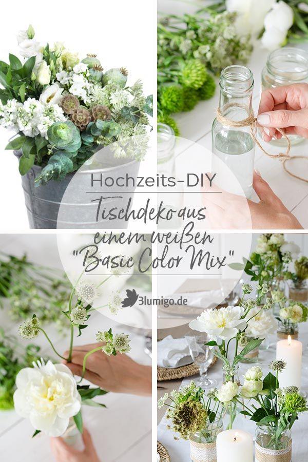 Tischdeko Selber Machen Ein Diy Aus Unserem Basic Color Mix In Weiss Wir Stellen Eine Mischung Aus Saisonale Tischdeko Selber Machen Tischdeko Hochzeit Grun