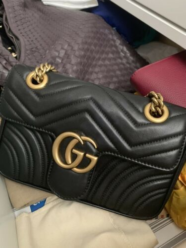 5ed1505b812150 Details about Gucci Marmont series Black small quilted shoulder bag ...
