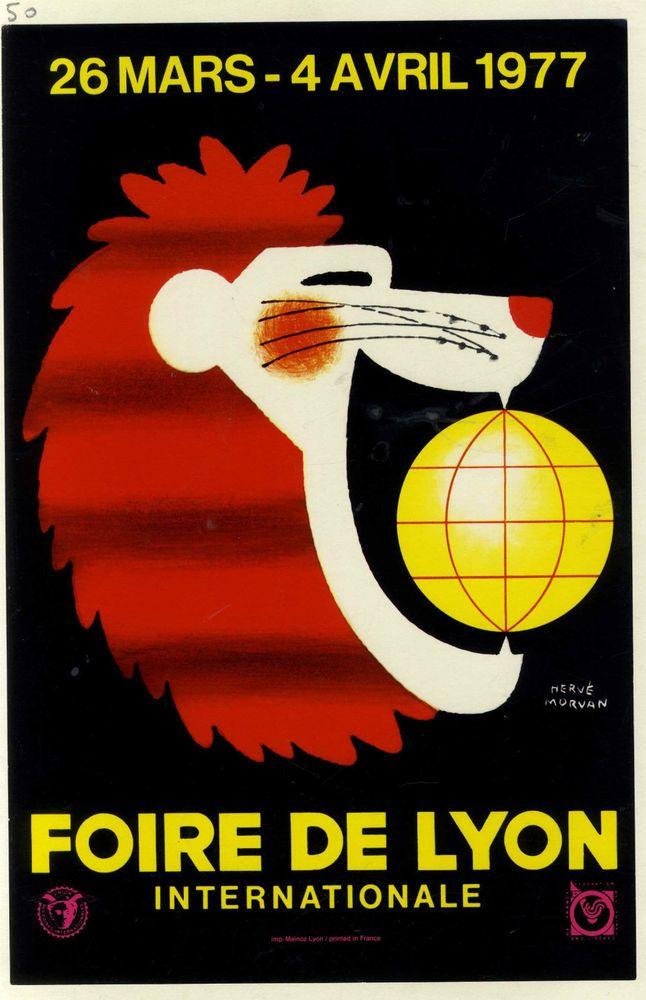 AFFICHE ANCIENNE FOIRE INTERNATIONALE DE LYON 1977 LION  HERVE MORVAN
