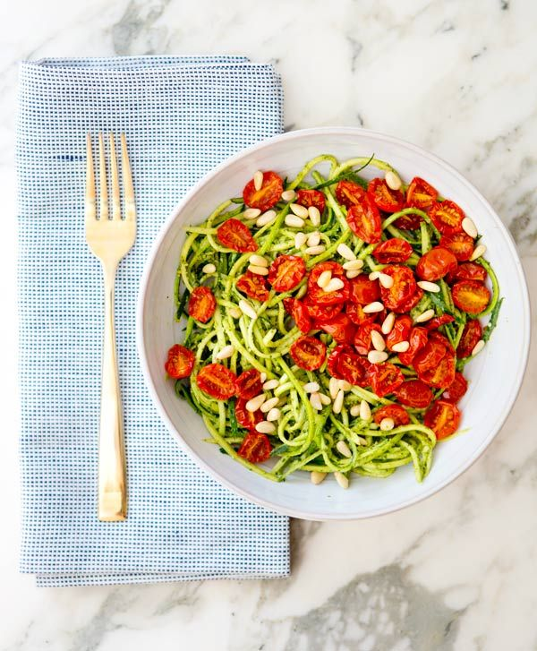 ZUCCHINI NOODLES WITH PESTO AND ROASTEDTOMATOES - a house in the hills
