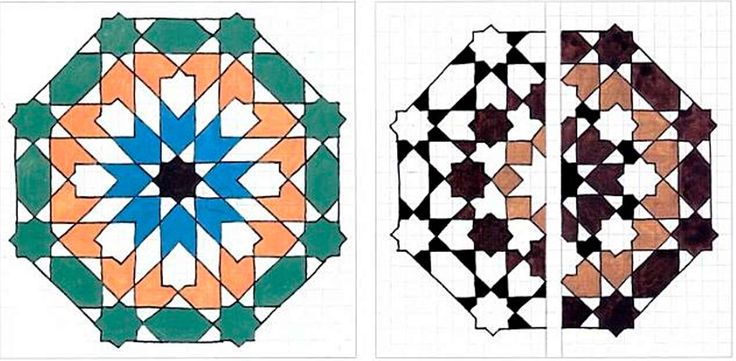 An 8 pointed star in an octagonal skeleton. First draw the skeleton, then extend the lines and the solution will apear on its own. This is of course a classical motif. (RIGHT) Two variations, one colored in positive and the other in negative of a new solutions based on the octagonal skeleton with a side of 1.