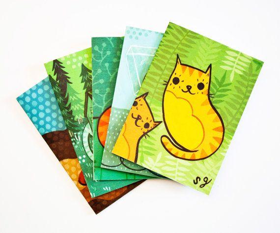 GATO tarjetas, tarjetas de felicitación del gato gato juego de tarjetas, gato tarjetas, notecard en blanco conjunto, gato ilustración notecards, tarjetas de arte gato, juego de tarjetas de felicitación