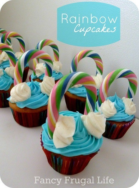 St. Patrick's day double rainbow cupcakes