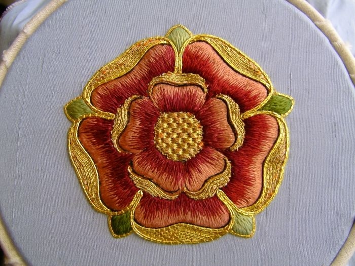 Close up of gold work completed by the Royal School of Needlework. You can't get more perfect than this.