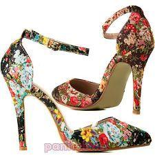 Scarpe donna decolletè a punta cinturino fantasia tapestry fiori tacchi XL-77