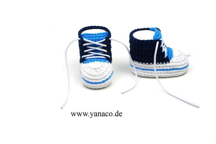 12,99€, Babyschuhe, handgemacht, Baumwolle,   blau,   Babyschuhe blau,