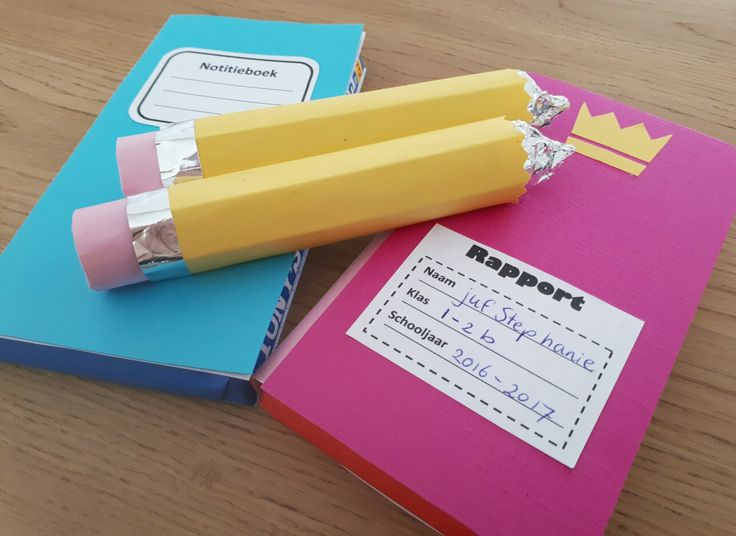 Afscheidskado juf - Notitieboekje en rapport van tony's chocolonely chocoladereep en twee potloden van rolo's - by Tilia
