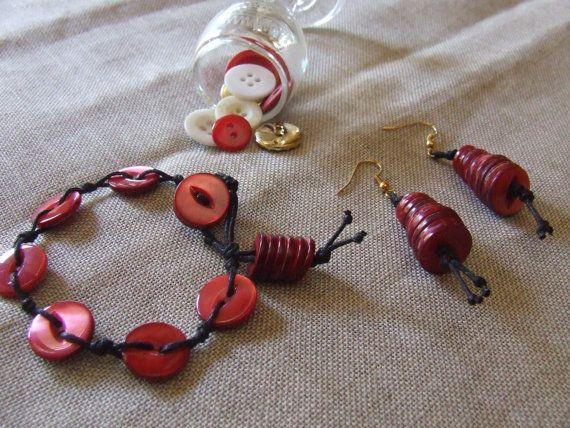 Orecchini pendenti Cono Rosso e/o braccialetto di nodiEbottoni