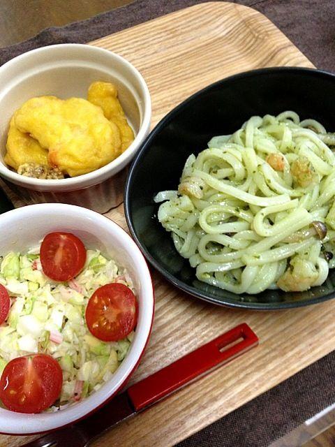昼飲み〜♪ - 37件のもぐもぐ - 冷製バジルうどん、コールスロー、ナゲット☆ by vivi93