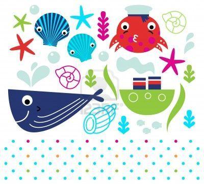 Sea animals and design elements mix.  Illustration