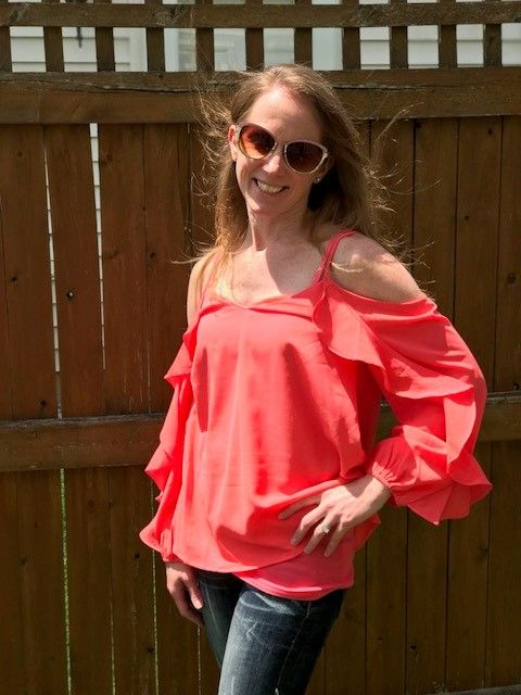 bce912d9ac898 Mitzi from IN looks amazing in her Coral Ruffle Cold Shoulder Top ...
