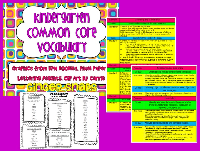 Kindergarten Common Core Vocabulary