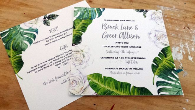Tropical leaves wedding invitations by Beechtree Creative.