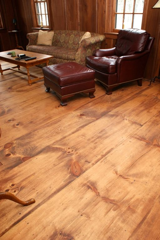 How to create an antique-looking floor using newly sawn affordable wide plank pine.