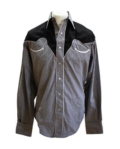 Rockmount Black and White 2-Tone Checked Western Cowboy Shirt