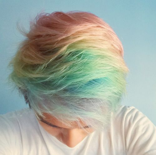 short hair in pastel rainbow color More hair inspiration at: www.hairchalk.co…