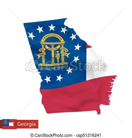 mapa, estado de Georgia, state., nosotros, bandera ondeante - csp51216241
