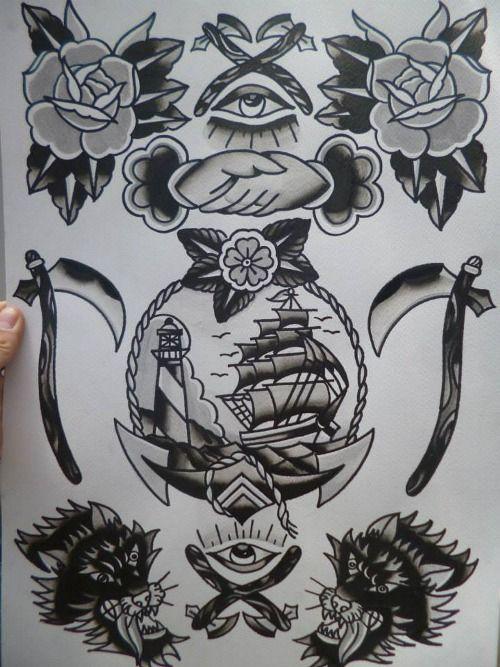 black traditional tattoo | Tumblr
