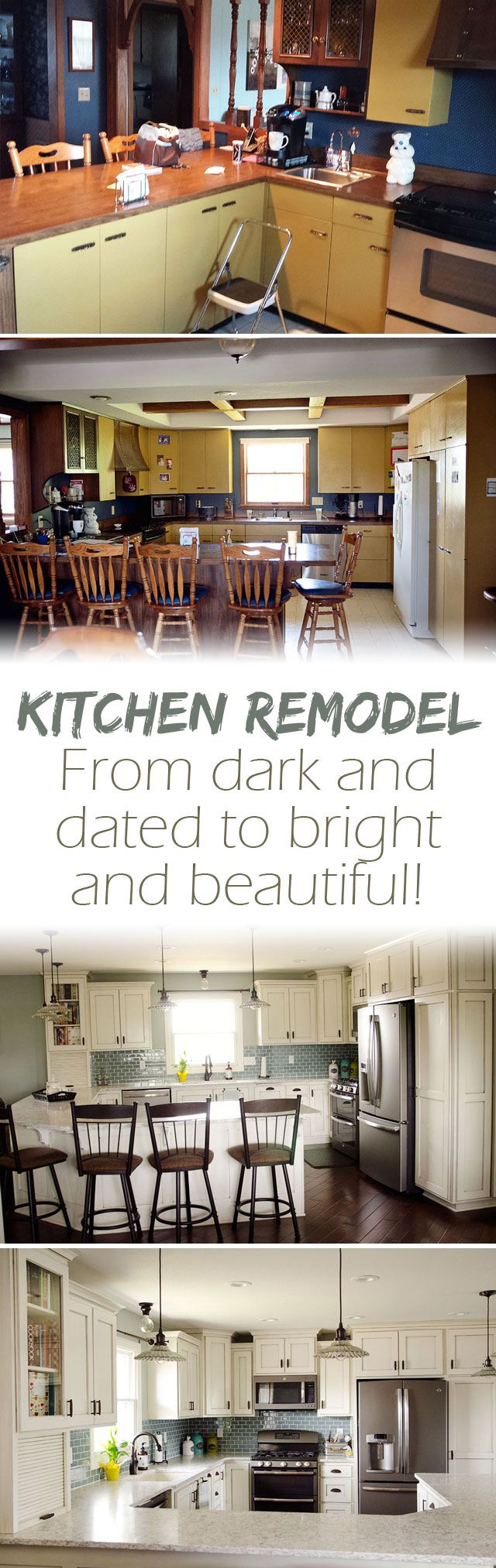 New Kitchen Remodel House Tour - Before & After photos and details of a complete kitchen transformation. #Remodel #Kitchen #BeforeAndAfter #KitchenRemodel