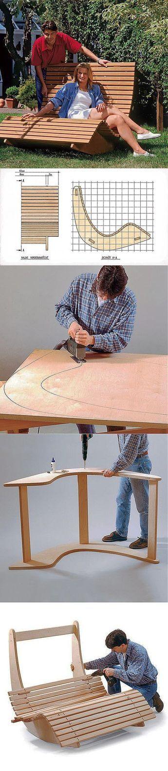Кресло-качалка для двоих своими руками.Недавно в Интернете нашла очень интересную информацию о том, как сделать кресло-качалку своими руками. На фотографиях все достаточно понятно изображено. Предлагаю вам эту идею.