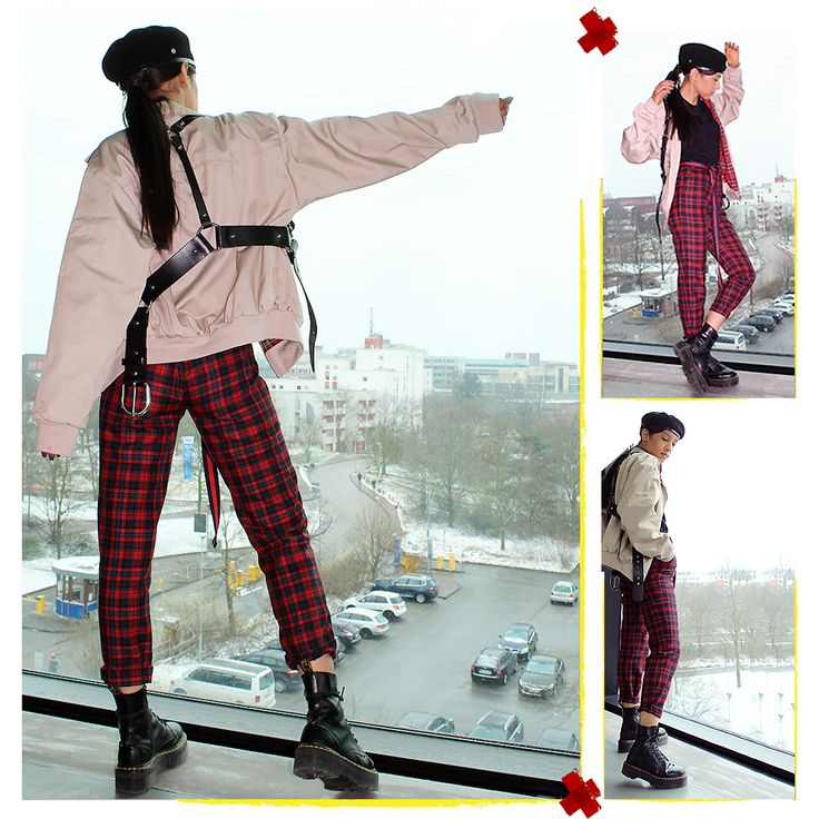 LOVE BEING 🔛🔝THE VIEW IS BETTER 🏙☁️ #LauraBhrd #Punk #PunkChic #ZanaBayne #Harness #Tartan #TartanPants #JadonBoots #Beret
