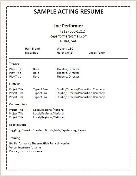 theater audition resume format acting template dance theatre