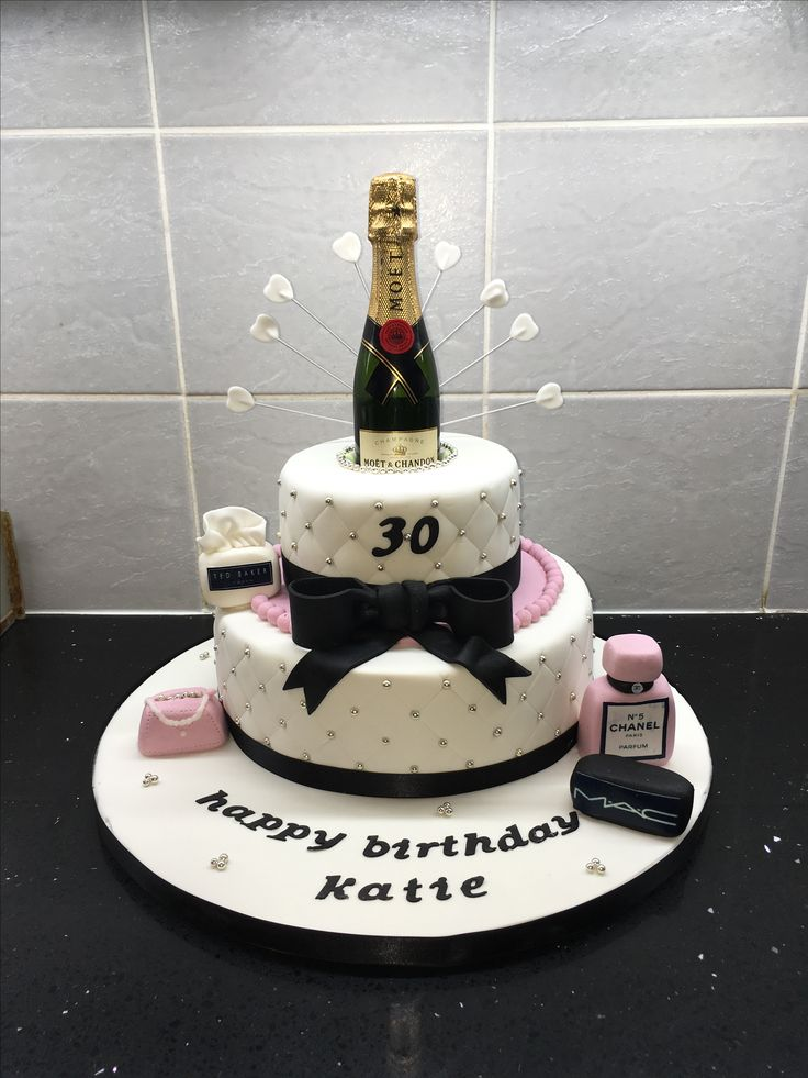 Classy 2 Tier For A 30th With Champagne Bottle X Pretty