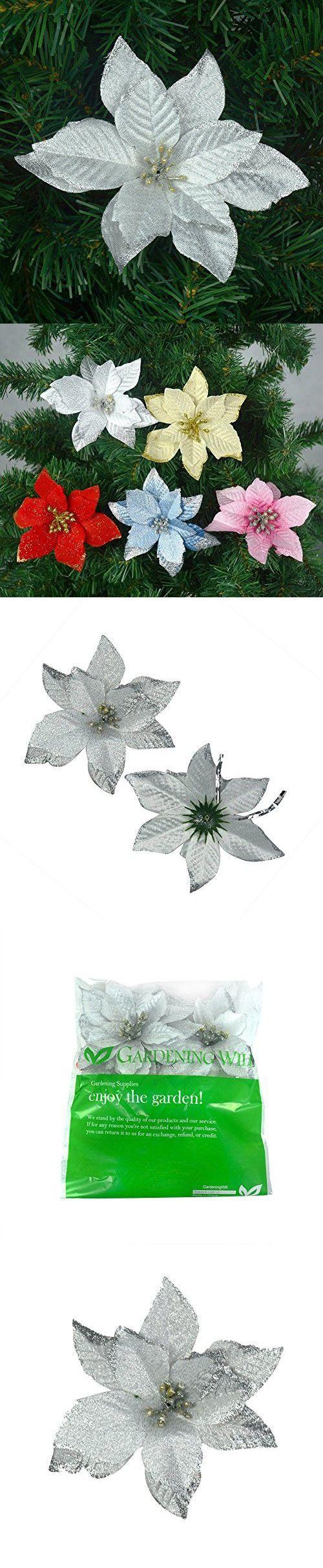 Fibre optic christmas flowers and xmas flowers - 6pcs 5 Inch Glitter Artificial Wedding Christmas Flowers Xmas Tree Wreaths Decor Ornament Silver