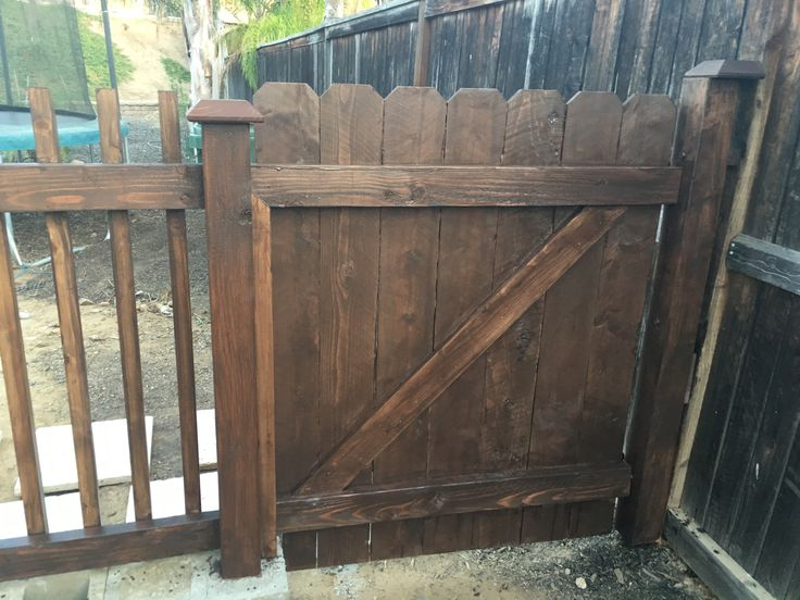 Handmade fence door for our cinder block and wood fence.