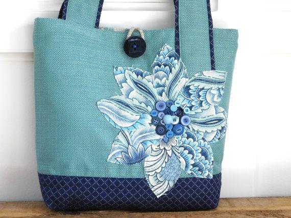 Navy Tote Handbag Handmade Fabric Bag by BerkshireCollections #Integritytt