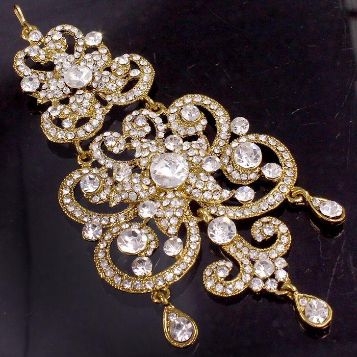 Gold Tone White Cz Kundan Bridal Jhoomer @ Indiatrend For $22.99USD