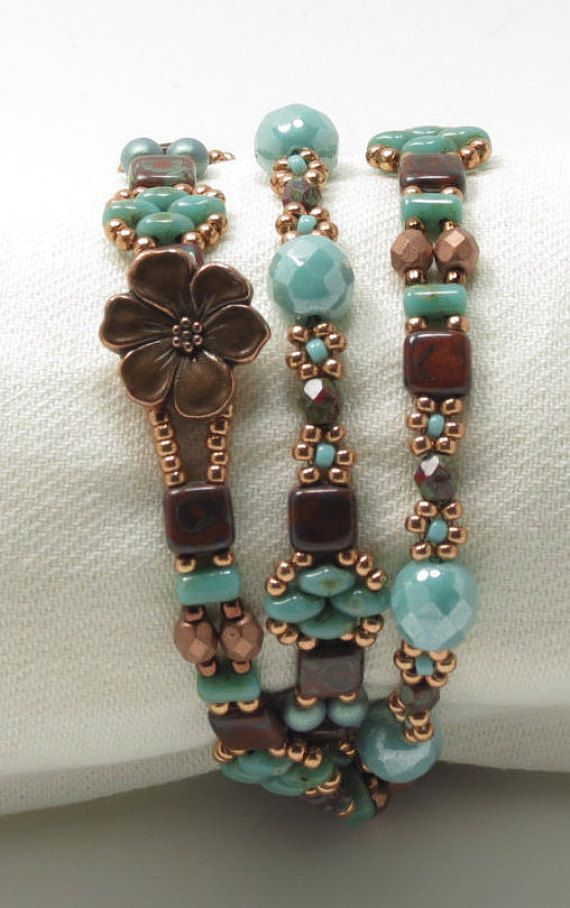 TRIPLE WRAP SUPERDUO Tile Bracelet - Umber Picasso Tiles - Turquoise Picasso Superduos and Rullas - Copper Flower Button - Boho-Tierra Cast