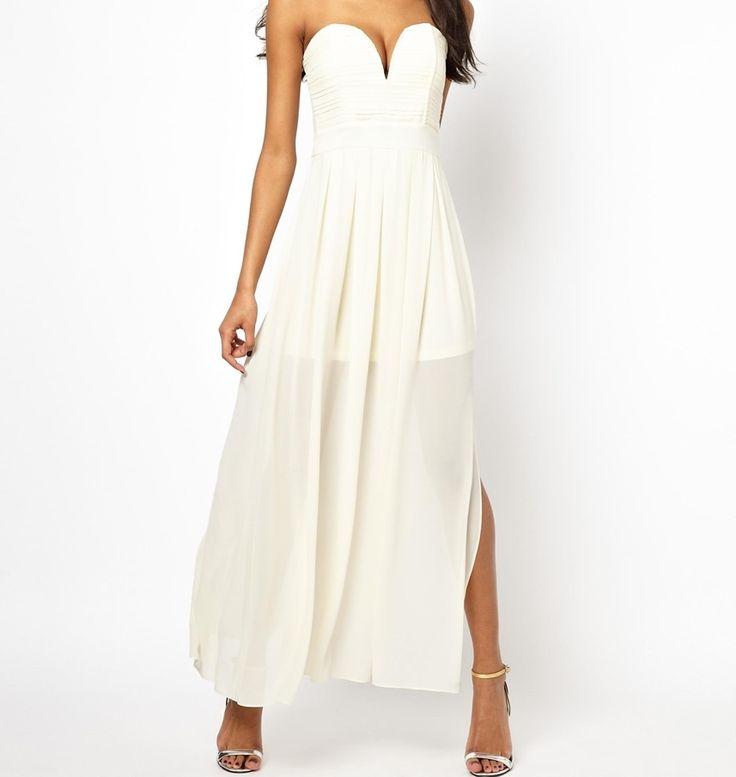 Dámske oblečenie | Dámske šaty | TFNC Maxi With Plunge Bustier šaty krémové | www.nells.sk - Parfumy, kozmetika a oblečenie svetových značiek.