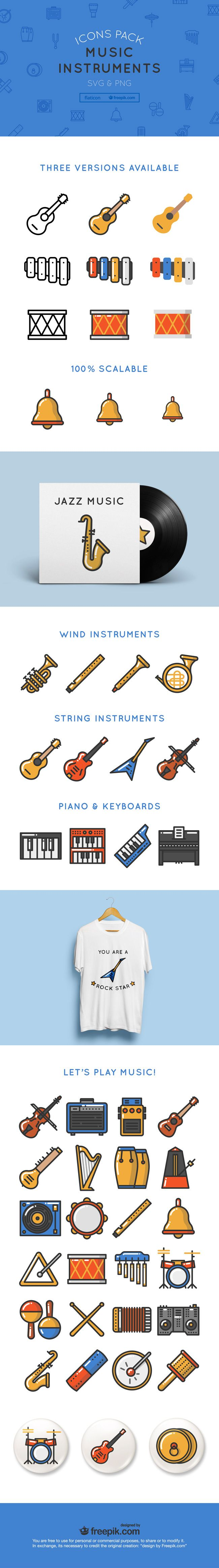 Free Download : 50 Music Instrument Icons (linear, flat, colored)