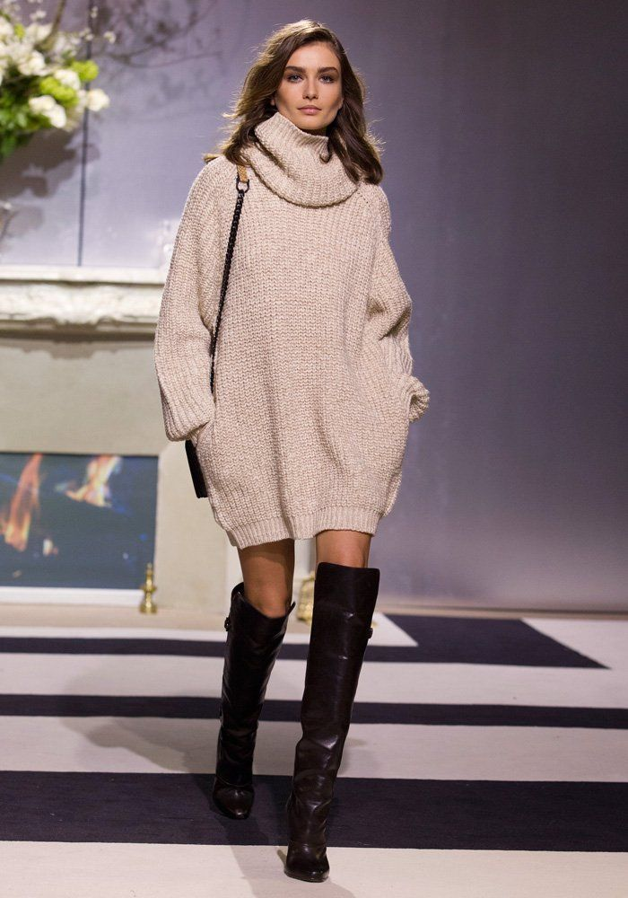 gros pull-robe oversize et  cuissardes H & M