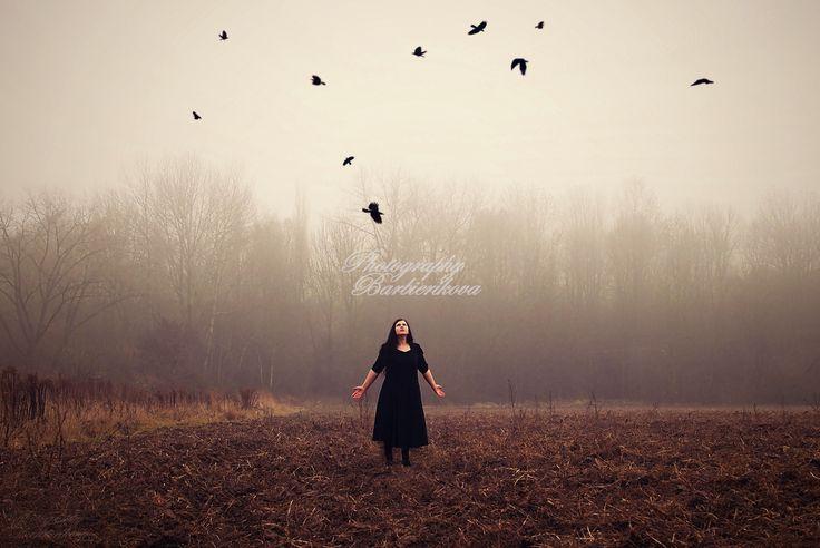 Misty Sona Barbierikova Photography Dark Beauty Gothic Crows Black Fine Art Photography Umelecká Fotografia Vrany Gotika Hmla