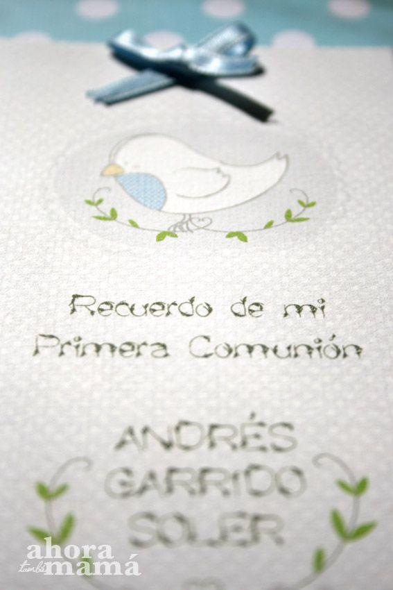 Detalle tarjeta recordatorio comunión niño