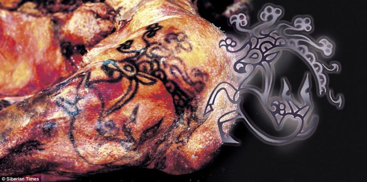 The intricate patterns of 2,500-year-old tattoos - some from the body of a Siberian 'princess' preserved in the permafrost - have been revealed in Russia.